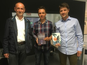 Amb Sergi Cebrián i Manel Cascante i llibres
